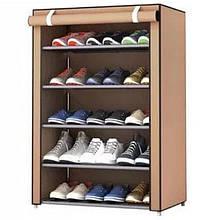 Стеллаж для хранения обуви Combination Shoe Frame - 5 полок, коричневый (Живые фото)
