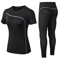 Спортивный костюм женский для фитнеса. Комплект лосины и топ для йоги, спорта, тренировок, размер M (черный)