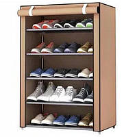 Тканевый шкаф для обуви на 5 полок Combination Shoe Frame | 60х30х90 см коричневый (Реальные фото)