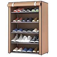 Органайзер для хранение вещей | Шкафы из ткани | Тканевый шкаф для обуви, 5-полок коричневый (Настоящие фото)