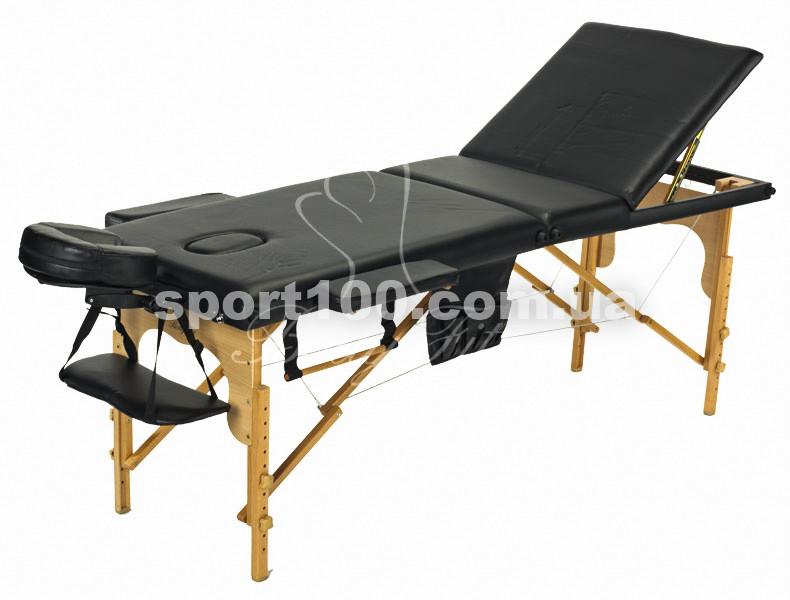 Массажный стол профессиональный деревянный 3-х сегментный Body Fit (Черный)