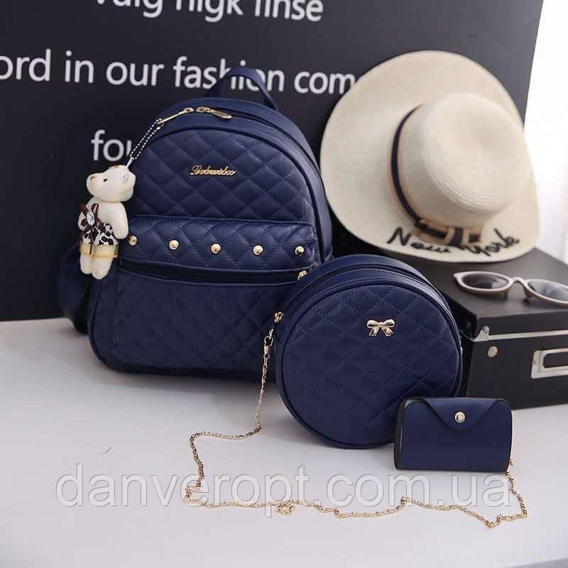 Набор сумок 3 в 1 женский стильный из кожзама купить оптом со склада 7км Одесса