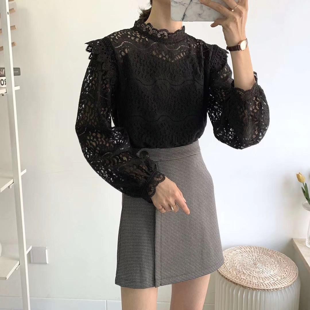 Кружевная блузка с длинными рукавами 42-44