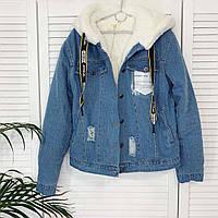 Джинсовая куртка на меху женская в расцветках ( М=42-44, Л=44-46)