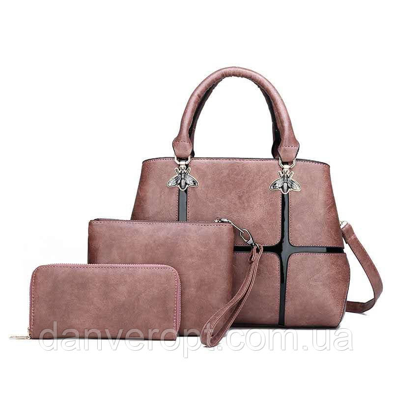 Набор сумок 3 в 1 женский стильный из экокожи купить оптом со склада 7км Одесса