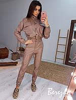 Молодежный костюм куртка(бомбер) и брюки-карго из эко-кожи разные цвета, фото 1