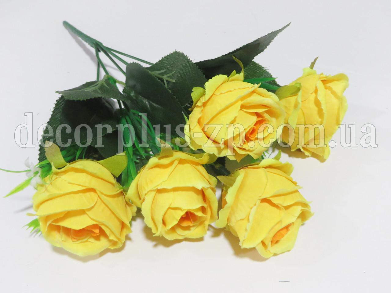 Букет розочек пионовидных, ярко-желтый