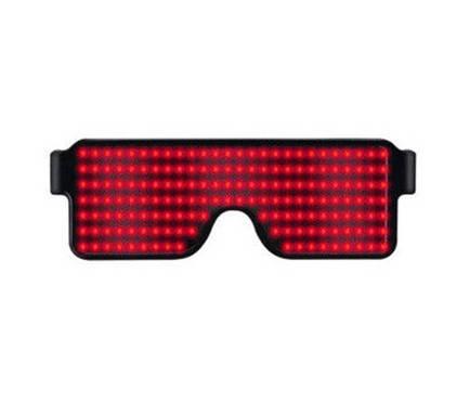 Красные светодиодные очки со встроенным аккумулятором, 8 режимов работы. Светодиодные Led El очки, фото 2