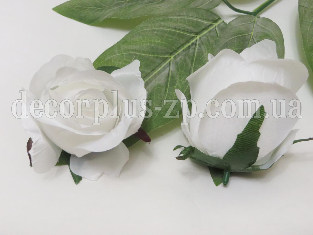 "Голова розы ""Дуэт"" 8см, белая"