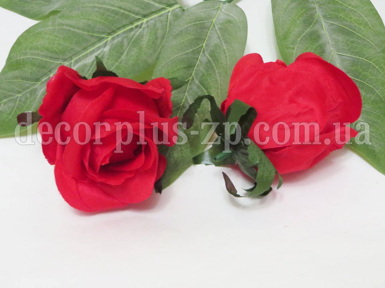 """Голова розы """"Дуэт"""" 8см, красная"""
