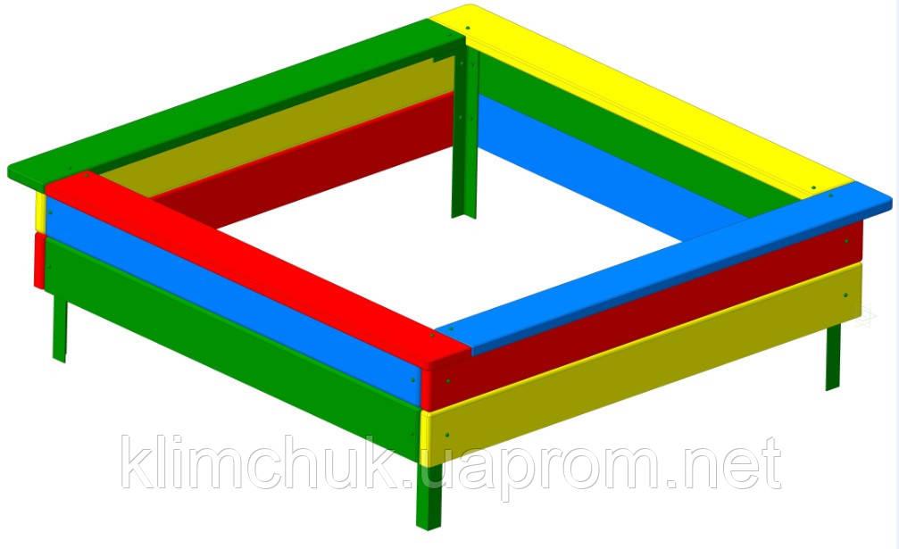 Пісочниця середня 1,95х1,95 м. з соснових дощок для дитячих майданчиків KidSport