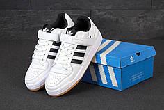 Мужские кроссовки Adidas Forum. White Black. ТОП Реплика ААА класса.