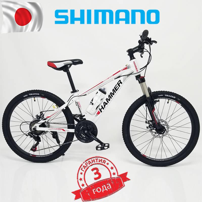 Горный подростковый Велосипед HAMMER-24 Бело Красный Япония Shimano.