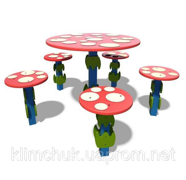 """Ігровий столик та пять стільців """"Мухомор"""" для дитячих ігрових майданчиків KidSport"""
