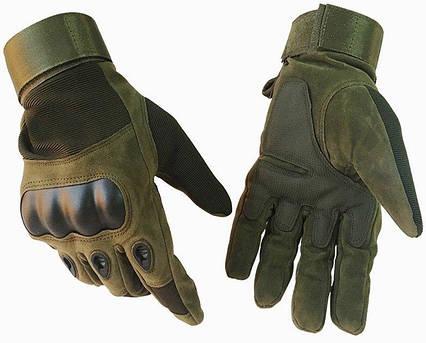 Тактические перчатки полнопалые Oakley темно-зеленые XL