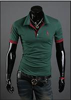Мужская футболка с воротником бутылочного цвета M-XXL (зеленая) код 56