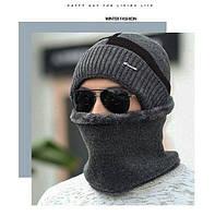 Шапка мужская зимняя без шарфа серо-красная серая код 94