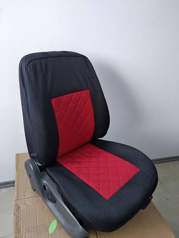 Чехлы на сиденья авто универсальные LUXE (спинка деленка) вставка красная, фото 2