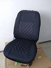 Чехлы на сиденья авто универсальные LUXE (спинка деленка) серая строчка, фото 2