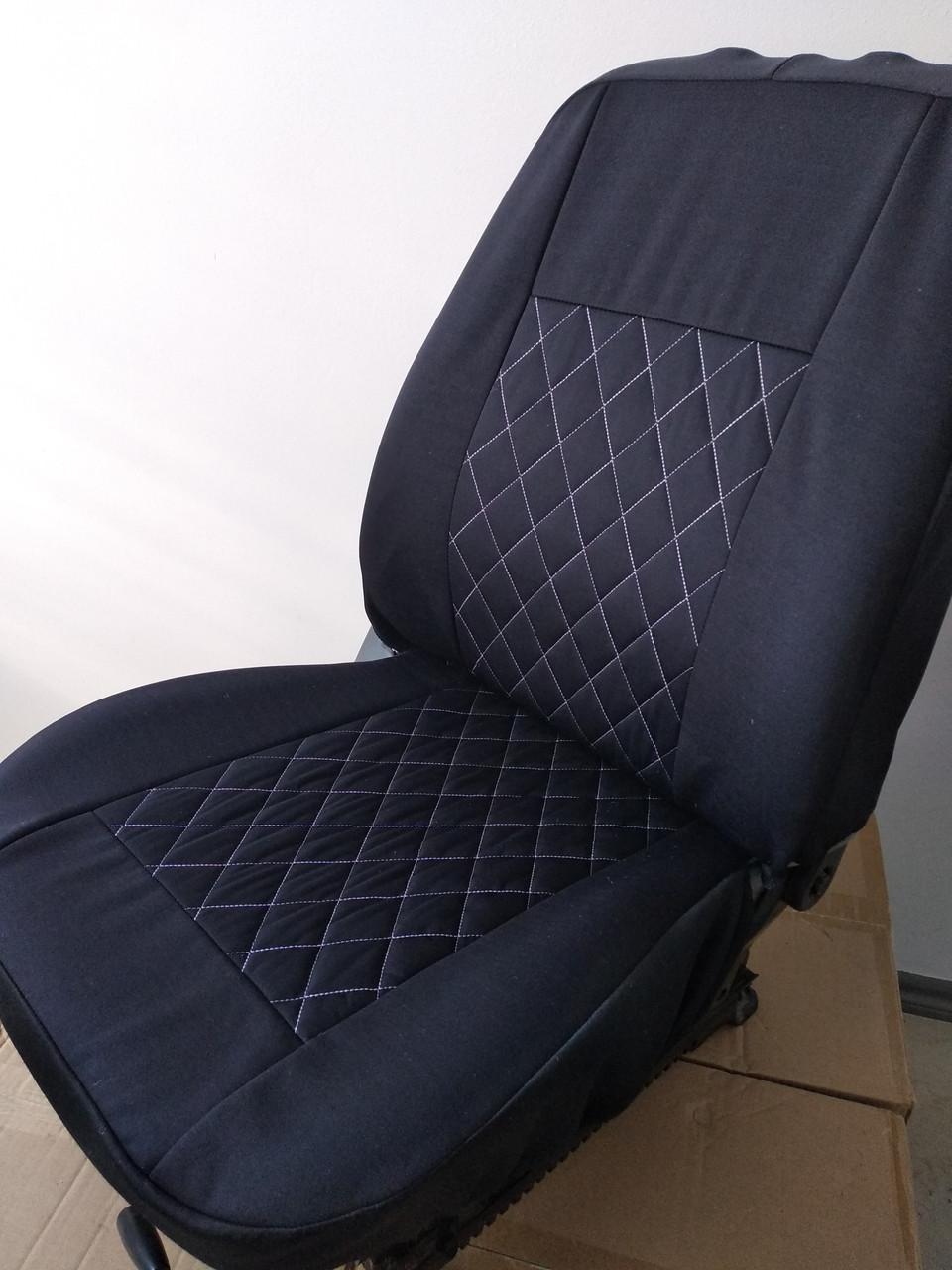 Чехлы на сиденья авто универсальные LUXE (спинка деленка) серая строчка