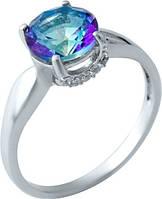 Серебряное кольцо SilverBreeze с натуральным мистик топазом (1913208) 17 размер