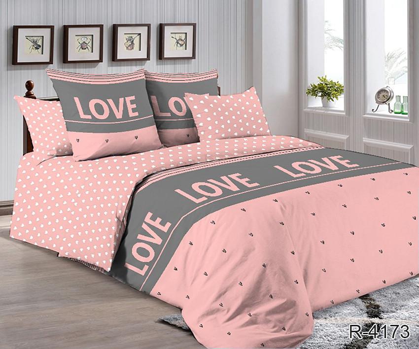 Полуторный комплект постельного белья ренфорс с компаньоном R4173