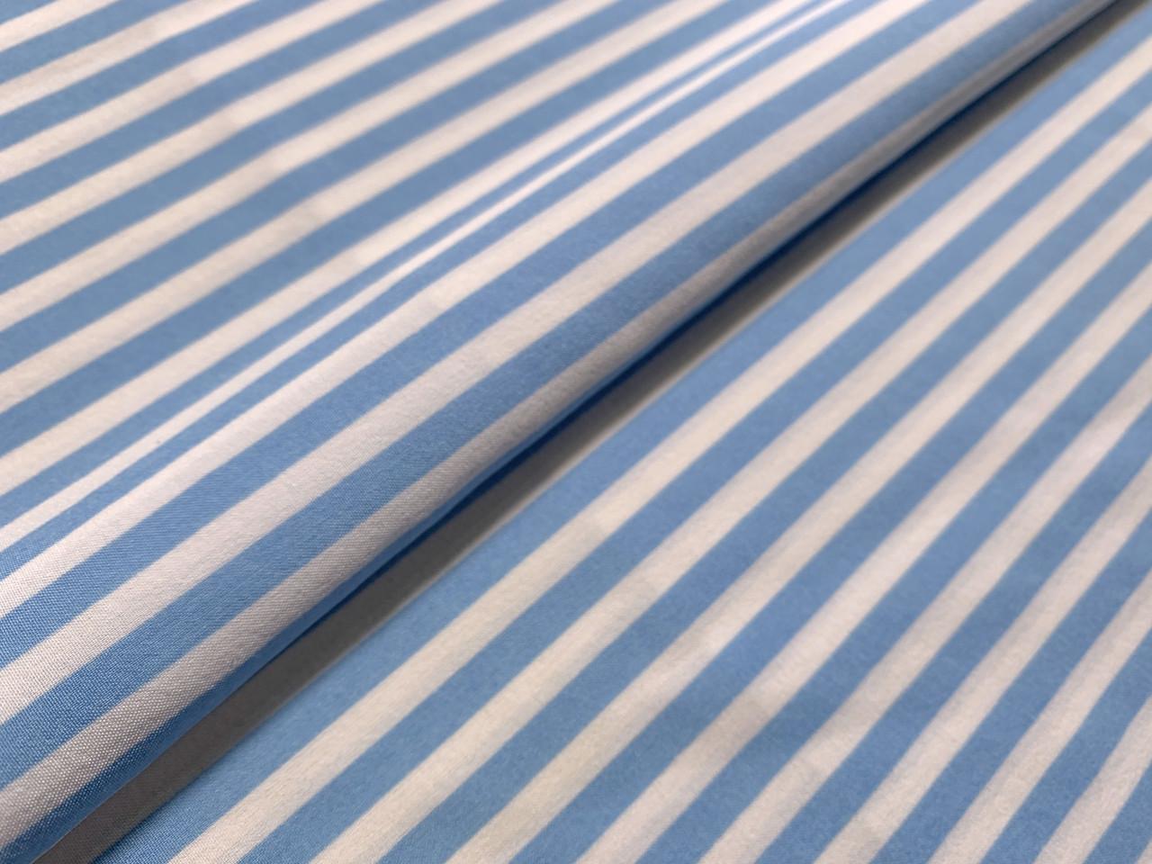 Французская вискоза софт полоска 5 мм, голубой на белом