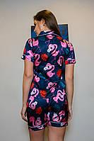 Шёлковая женская пижама.  Классическая рубашка с шортиками. Синяя. Фламинго, фото 2