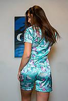 Шёлковая женская  пижама. Комплект! рубашка с шортиками. Голубая. Единороги, фото 2