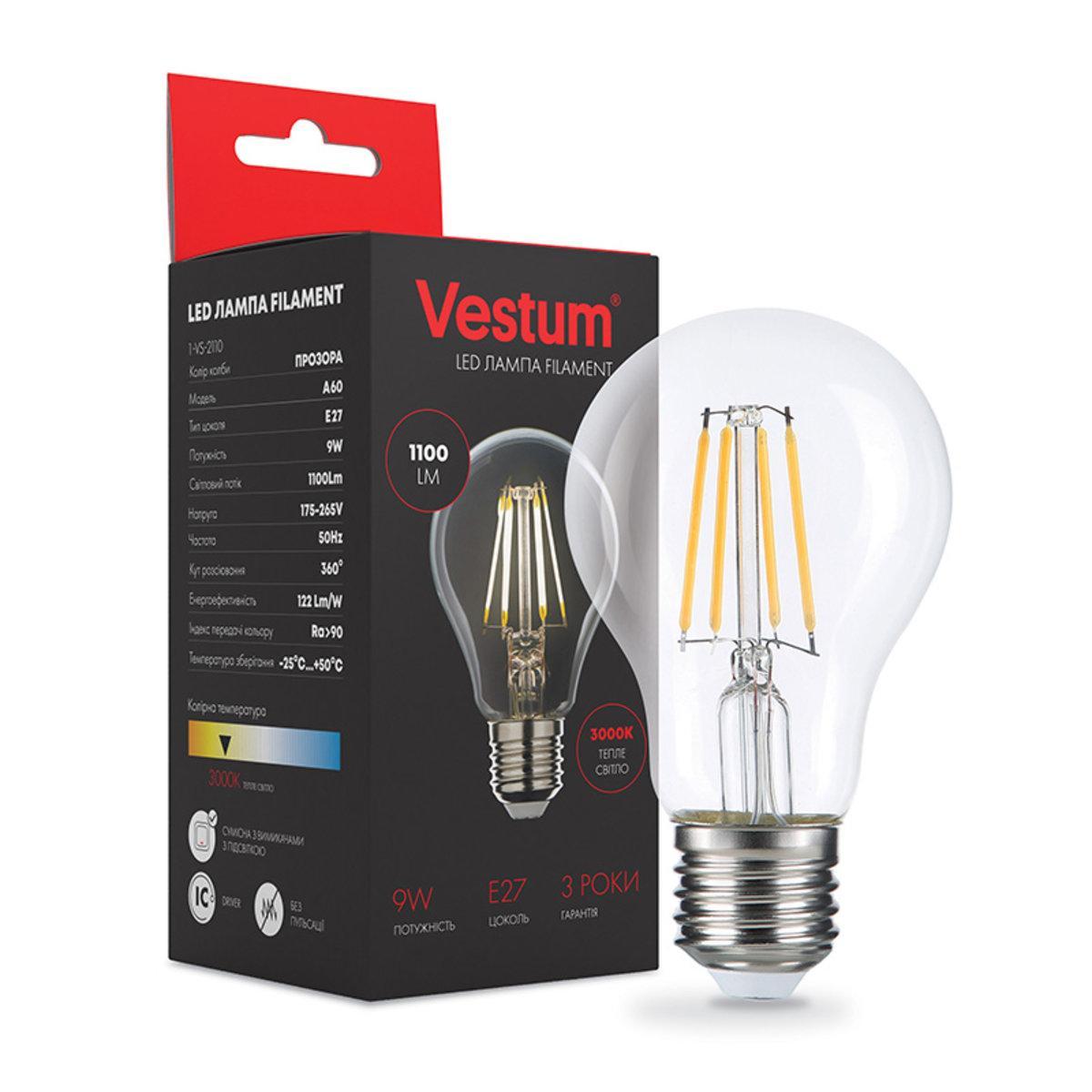 Лампа LED Vestum филамент А60 Е27 9Вт 220V 3000К