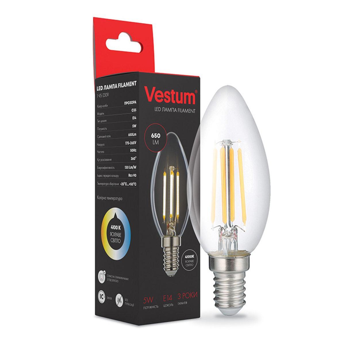 Лампа LED Vestum филамент С35 Е14 5Вт 220V 4100К