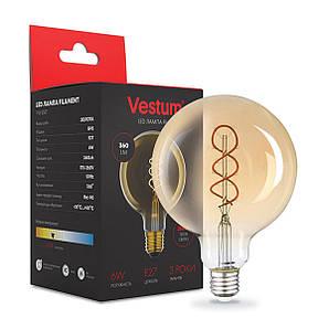 """Лампа LED Vestum філамент """"вінтаж"""" golden twist G95 Е27 6Вт 220V 2500К"""