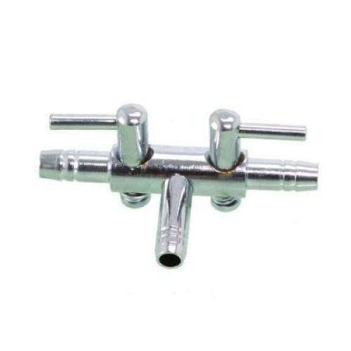 Кран на два выхода (металл) для шланга 4_6мм SHEGO