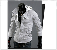 Мужская толстовка, реглан с капюшоном код 48 светло-серая. размеры : М, L, XL, XXL,XXXL