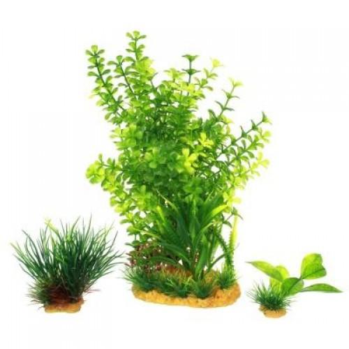 Искусственные растение набор Yusee Лиственные + травяные 3шт