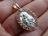 Золотая подвеска-иконка Божией Матери с белым золотом и цирконами, фото 1