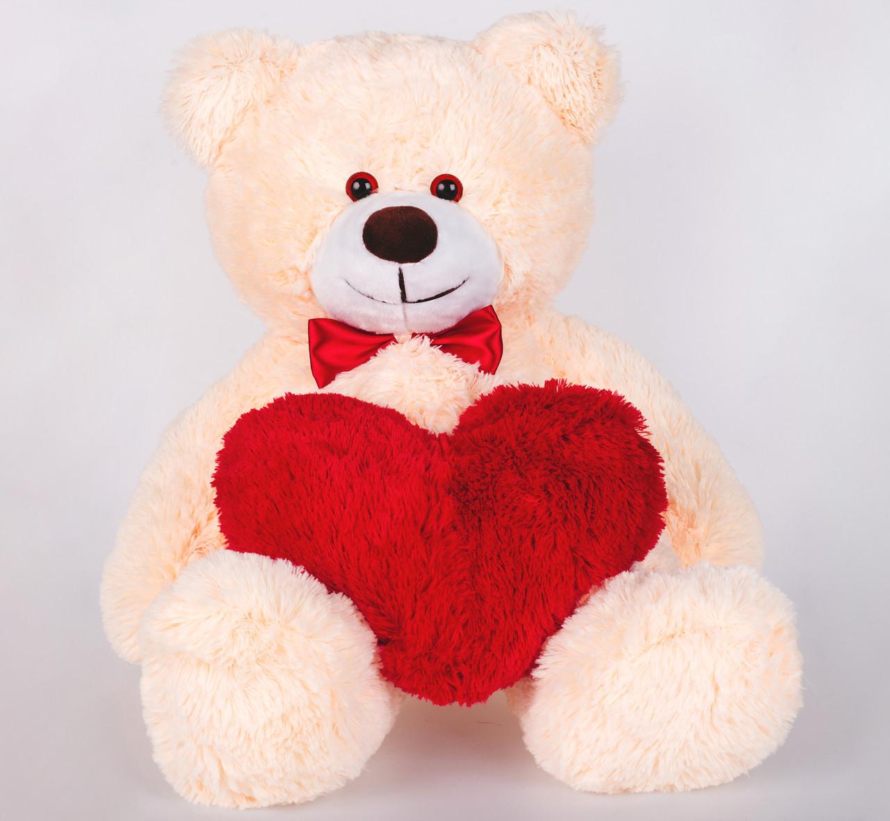 Плюшевий ведмедик з сердечком Yarokuz Джиммі 90 см Персиковий