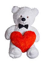 Плюшевий ведмедик з сердечком Yarokuz Джиммі 90 см Білий
