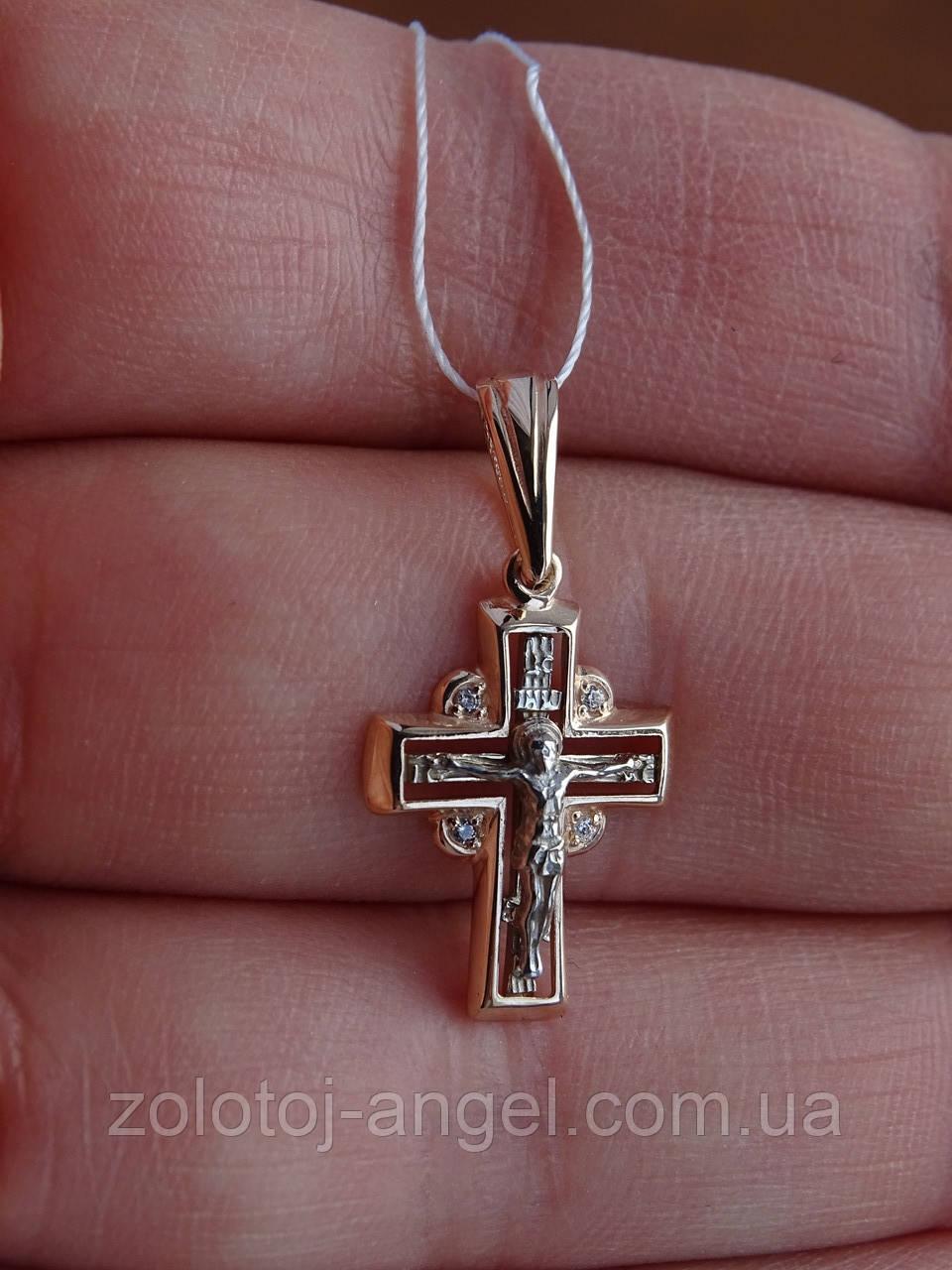 Золотой крест с белым золотом и цирконом