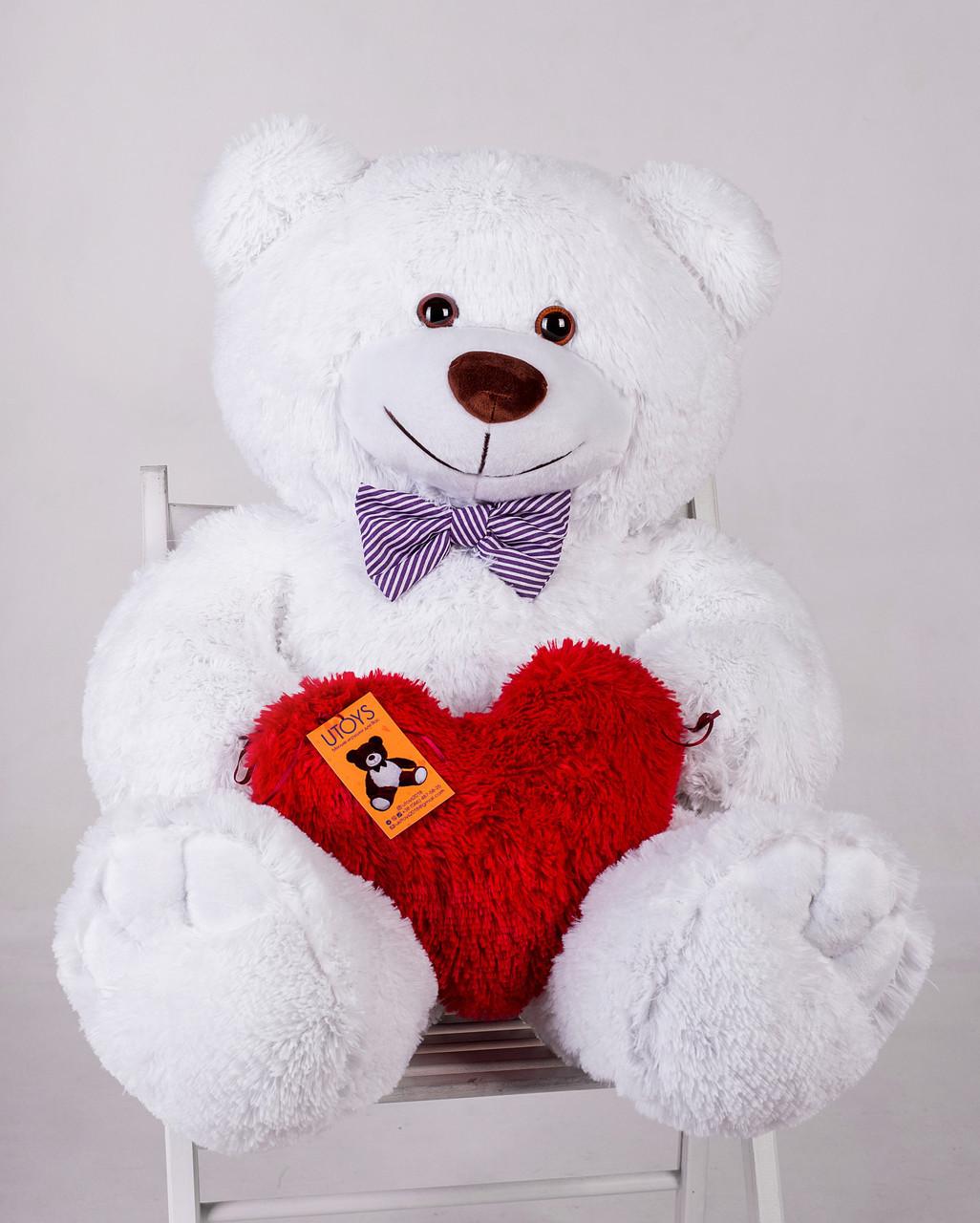Мишка с сердечком Yarokuz Джон 110 см Белый