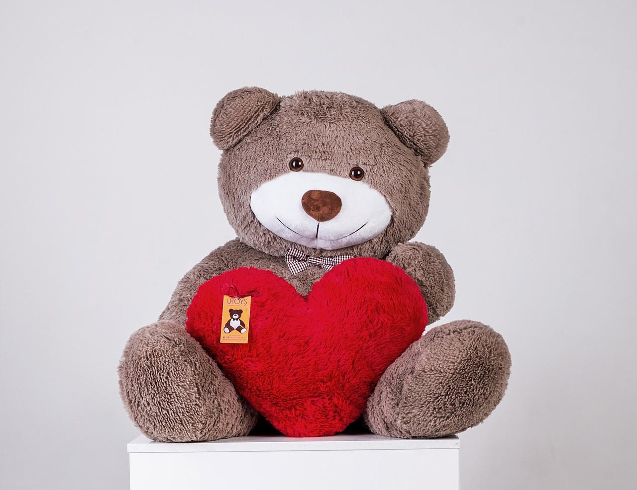 Плюшевий ведмедик із серцем Yarokuz Бенжамін 135 см Капучіно