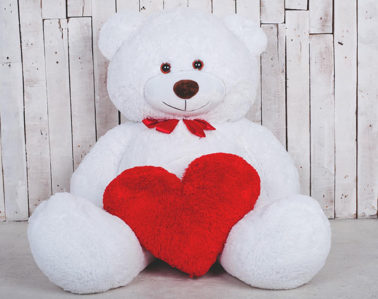 Великий плюшевий ведмедик з сердечком Yarokuz Джеральд 165 см Білий