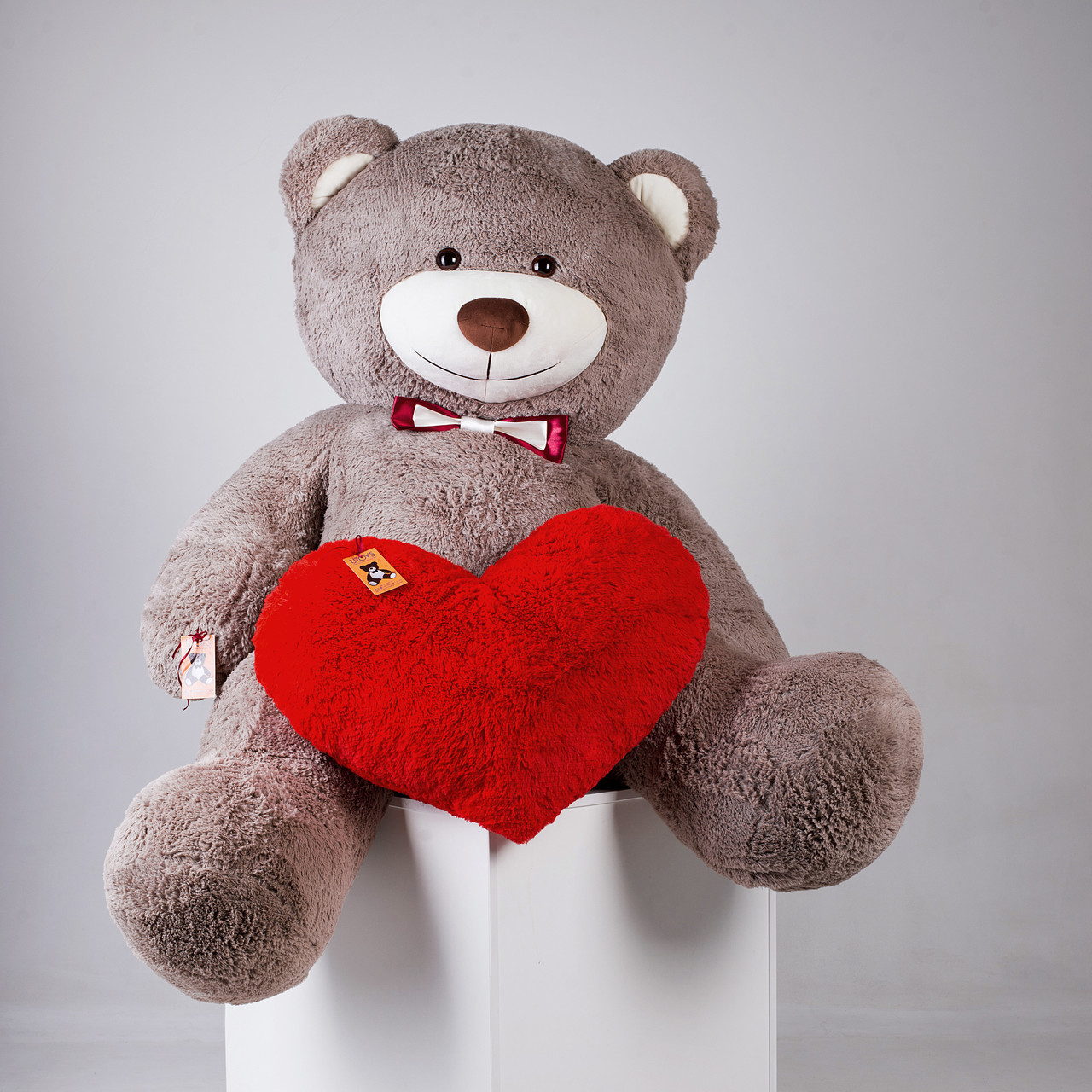 Великий плюшевий ведмедик з серцем Yarokuz Річард 200 см Капучіно