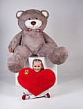 Великий плюшевий ведмедик з серцем Yarokuz Річард 200 см Капучіно, фото 3