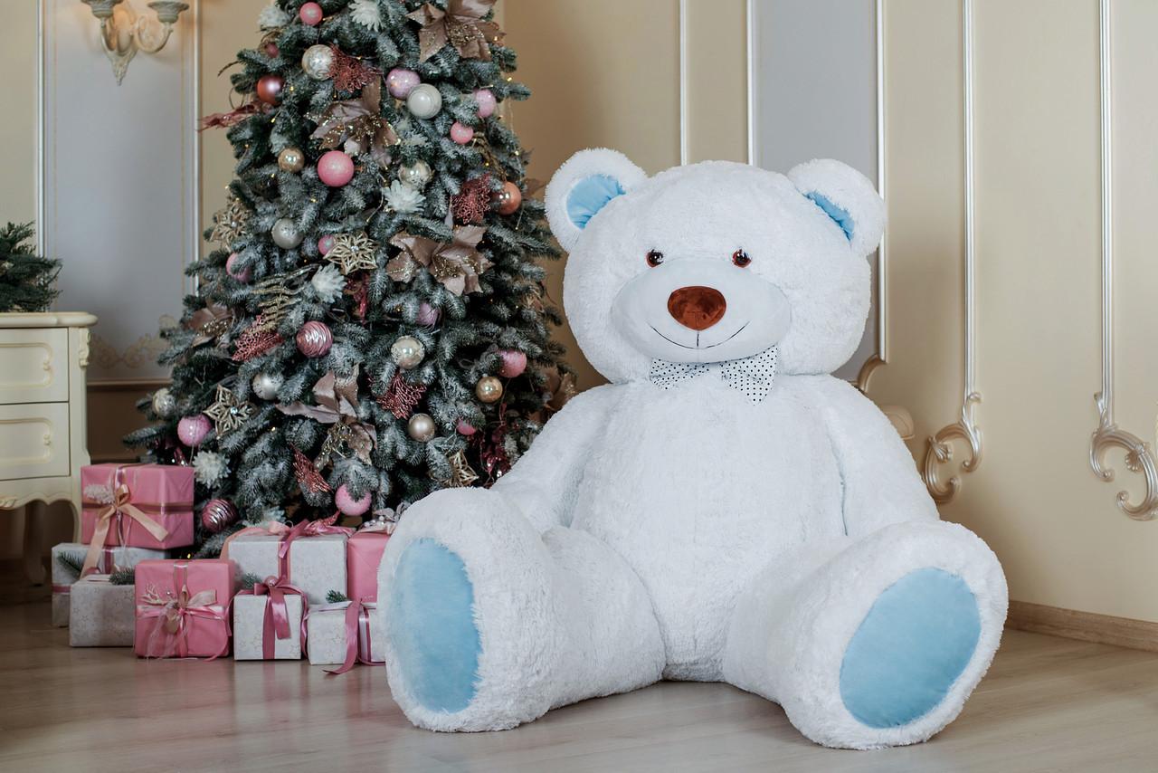 Большой плюшевый мишка Yarokuz Ричард 200 см Белый с голубым