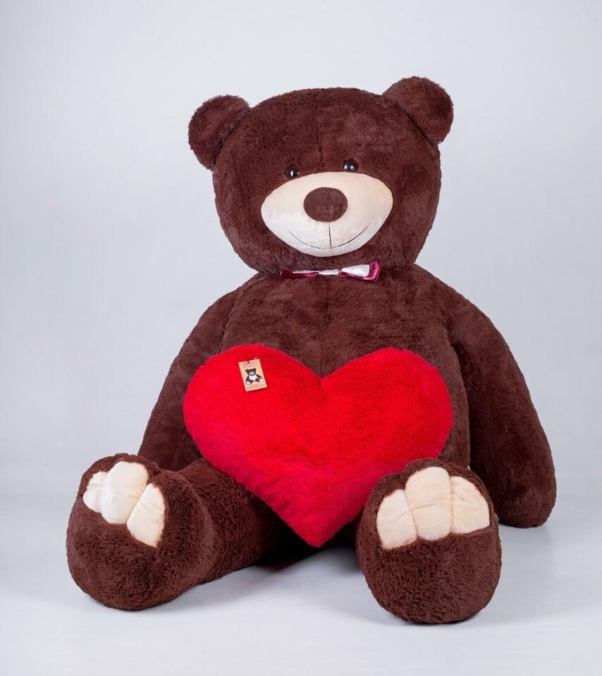 Величезний м'який ведмедик з серцем Yarokuz Вільям 250 см Шоколадний