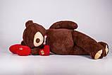 Величезний м'який ведмедик з серцем Yarokuz Вільям 250 см Шоколадний, фото 2