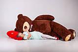 Величезний м'який ведмедик з серцем Yarokuz Вільям 250 см Шоколадний, фото 3