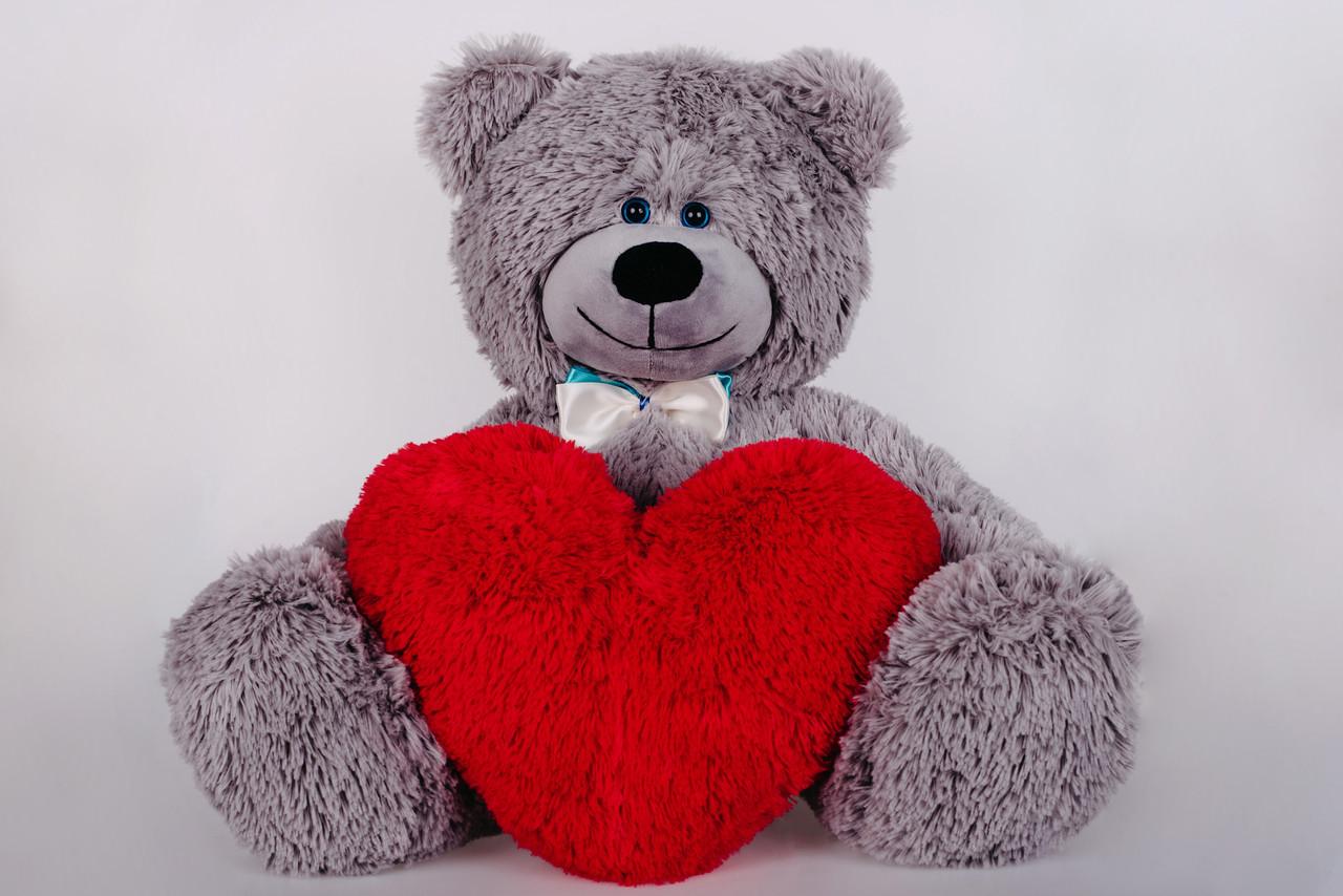 Плюшевий ведмедик з сердечком Yarokuz Джеймс 65 см Сірий