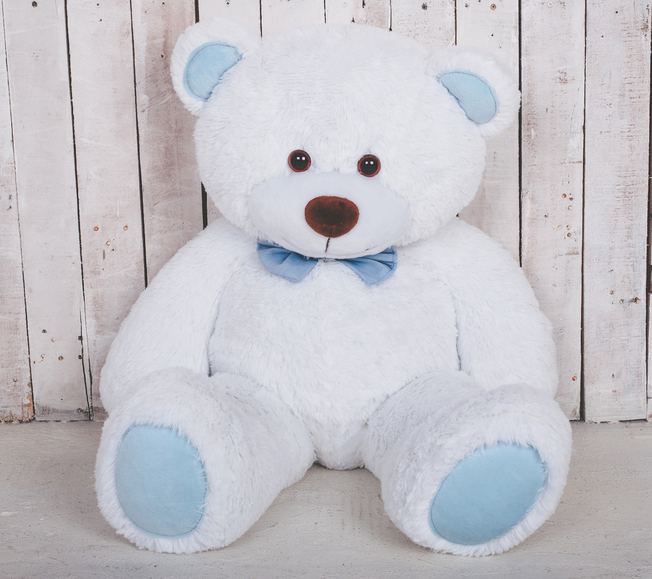 Ведмедик плюшевий Yarokuz Джон 110 см Білий з блакитним